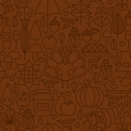 Thin Line Holiday Thanksgiving Day Brown Seamless Pattern. Vector Autumn Thanksgiving Dinner Design and Seamless Background in Trendy Modern Line Style. Thin Outline Art. Traditional National Celebration
