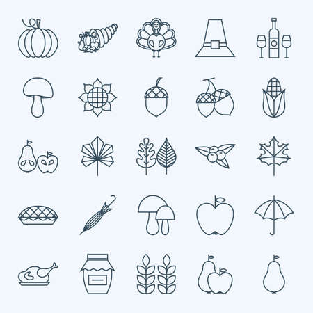 Line Holiday Thanksgiving Day Icons Set. Vector Set of 25 Autumn Seasonal Holiday Modern Line Icons for Web and Mobile. Thanksgiving Dinner Food Icons Collection  イラスト・ベクター素材