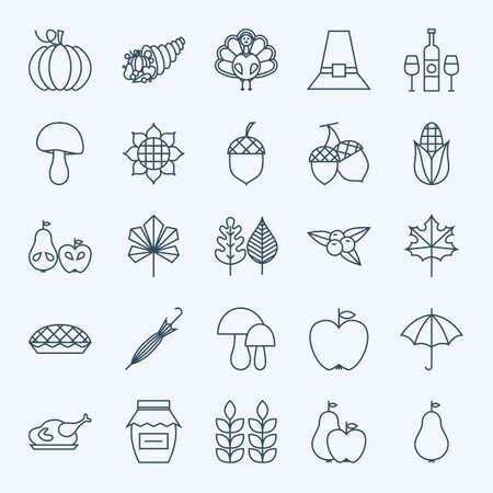 estaciones del año: Línea de vacaciones de Acción de Gracias Día de conjunto de iconos. Vector Conjunto de 25 por temporada Otoño Holiday moderna línea de iconos para web y móvil. Cena de Acción de Gracias Food Icons Collection Vectores