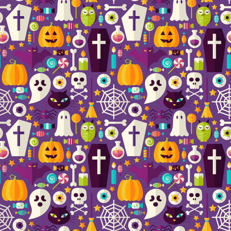 Purple Halloween Party Seamless Pattern. Flat Style Vector Seamless Texture Background. Halloween Holiday Template. Trick or Treat