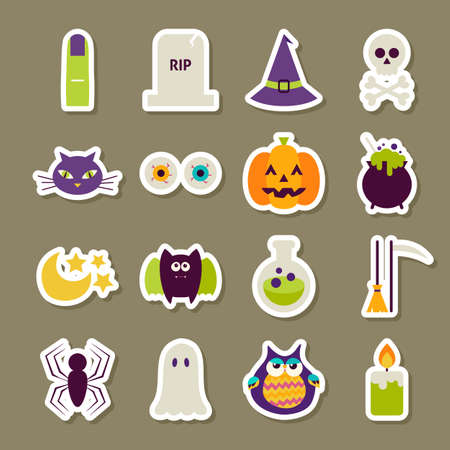 night owl: Scary Halloween Stickers Collection. Flat Style Vector Illustration. Autumn Halloween Party Holiday Sticker Collection. Tricks and Treats.