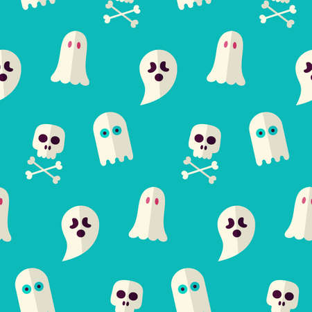 Vector Flat Seamless Scary Ghost and Spirit Halloween Pattern. Flat Design Vector Seamless Texture Background. October Magic Holiday Halloween Party Template. Death and Rest in Peace Vettoriali
