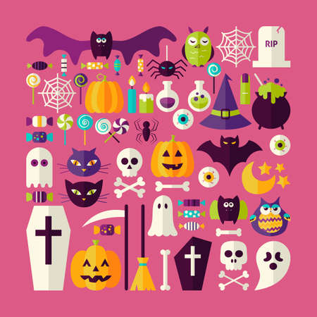 treats: Flat Style Vector Big Set of Halloween Holiday Objects and Elements. Set of Scary October Autumn Halloween Holiday Colorful Objects. Bundle of Tricks and Treats Items. Design Elements