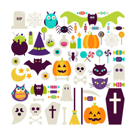 treats: Flat Style Vector Set of Halloween Holidays Objects Isolated over White. Set of Scary October Autumn Halloween Holiday Colorful Objects. Bundle of Tricks and Treats Items. Design Elements