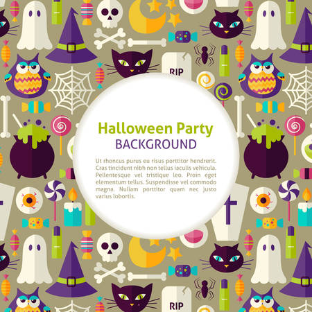 Flache Vektor-Muster Halloween-Party-Hintergrund. Illustration für Halloween-Feiertag-Förderungs-Schablone. Bunte Trick or Treat Objekte für die Werbung. Corporate Identity mit Text