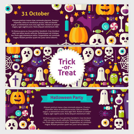 Halloween Party Concept Vector Template Banners Set. Flat Design Vector Illustration of Brand Identity for Halloween Holiday Promotion. Trick or Treat Colorful Pattern for Advertising