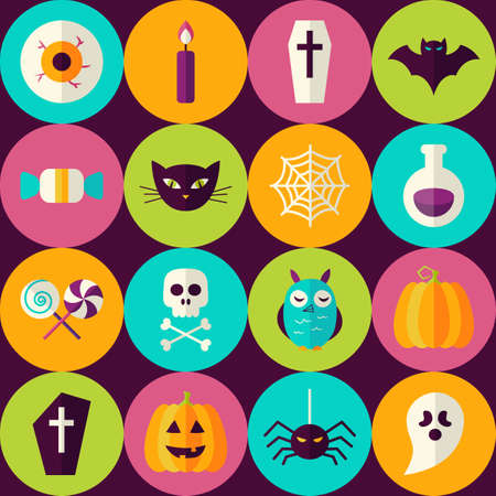 halloween scary: Flat Halloween Party Trick or Treat Seamless Pattern with Colorful Circles. Scary Halloween October Holiday Seamless Background Template. Illustration