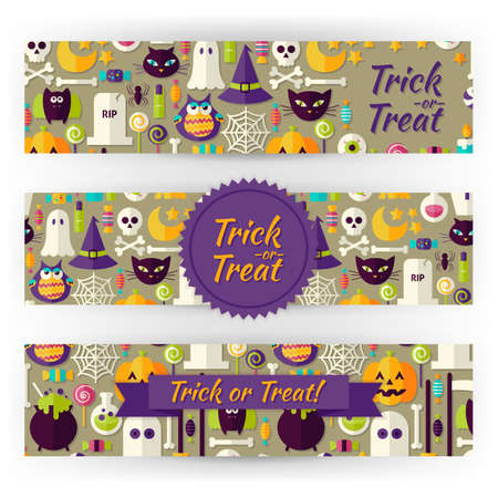 brand identity: Halloween Holiday Vector Template Banners Set. Flat Design Vector Illustration of Brand Identity for Halloween Party Promotion. Trick or Treat Colorful Pattern for Advertising