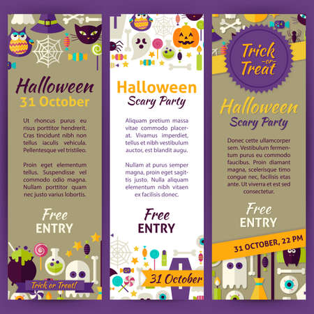 Halloween Holiday Party Invitation Template Flyer Set Flat Design