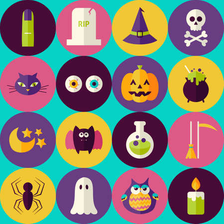 halloween scary: Flat Magic Halloween Witch Seamless Pattern with Colorful Circles. Scary Halloween Party October Holiday Seamless Background Template. Trick or Treat Illustration