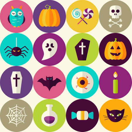 halloween scary: Flat Halloween Trick or Treat Seamless Pattern with Colorful Circles. Scary Halloween October Holiday Seamless Background Template. Halloween Party Illustration