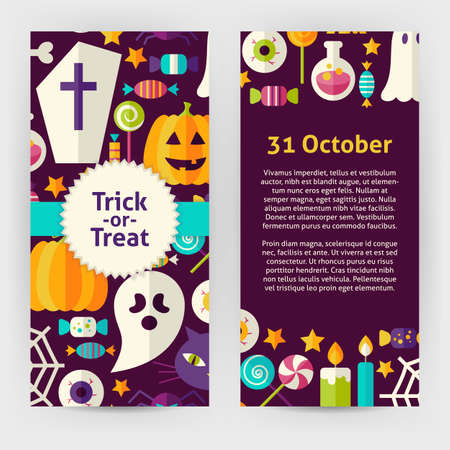 Vector Flyer Template of Flat Design Halloween Trick Treat Objects and Elements. Flat Style Design Vector Illustration of Brand Identity for Halloween Party Promotion. Colorful Pattern for Advertising