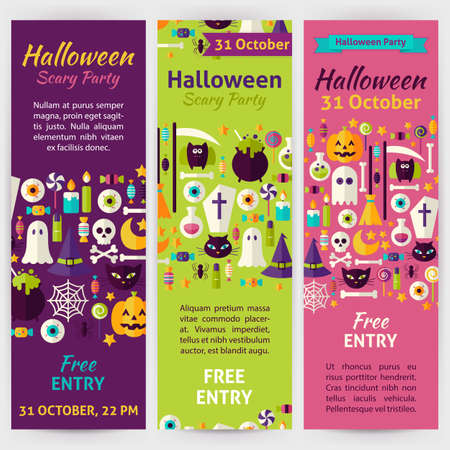 brand identity: Halloween Party Holiday Invitation Template Flyer Set. Flat Design Vector Illustration of Brand Identity for Halloween Promotion. Trick or Treat Colorful Pattern for Advertising Illustration