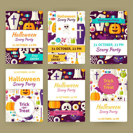 brand identity: Halloween Party Invitation Template Set. Flat Design Vector Illustration of Brand Identity for Halloween Promotion. Trick or Treat Colorful Pattern for Advertising