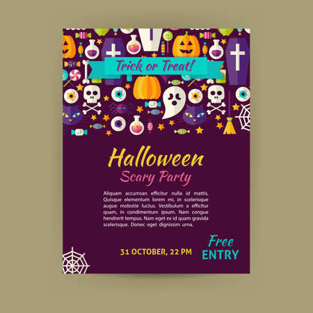 halloween invitation: Halloween Holiday Template Banner Flyer Modern Flat Style. Flat Design Vector Illustration of Brand Identity for Halloween Promotion. Trick or Treat Colorful Pattern for Advertising