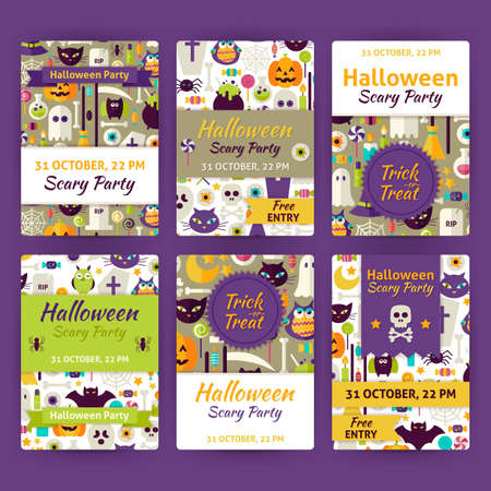 brand identity: Halloween Party Template Invitation Set. Flat Design Vector Illustration of Brand Identity for Halloween Promotion. Trick or Treat Colorful Pattern for Advertising