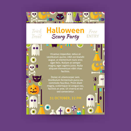 brand identity: Trick or Treat Halloween Party Invitation Template Flyer. Flat Design Vector Illustration of Brand Identity for Halloween Promotion. Trick or Treat Colorful Pattern for Advertising Illustration
