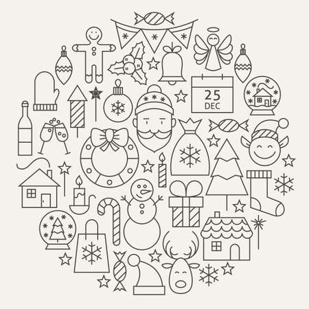 illustration background: Christmas New Year Holiday Line Icons Set Circular Shaped. Vector Illustration of Decoration and Festival Cold Celebration Objects. Winter Holiday Items.