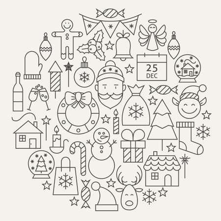 Navidad Año Nuevo Vacaciones de línea de conjunto de iconos de forma circular. Ilustración del vector de la decoración y el Festival de Cold Celebración objetos. Winter Holiday Items.