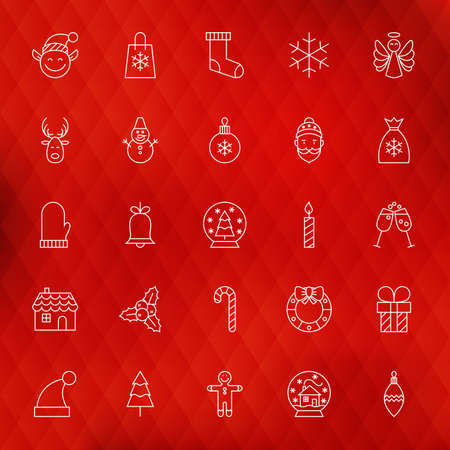 shopping champagne: Christmas New Year Thin Line Icons Set. Vector Collection of Winter Holiday Modern Thin Line Icons for Web and Mobile over Red Polygonal Blurred Abstract Background. Seasonal Celebration Illustration