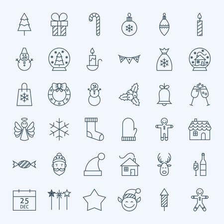 casita de dulces: L�nea de vacaciones Iconos de Navidad Set. Vector Conjunto de 36 de A�o Nuevo de vacaciones moderna l�nea de iconos para web y m�vil. Temporada de Invierno Icons Collection