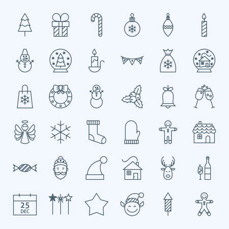 Linie Feiertags-Weihnachtsikonen eingestellt. Vektorgrafik Satz von 36 Neujahr Urlaub Modern Line-Icons für Web und Mobile. Winter Season Icons Collection Standard-Bild - 46604154