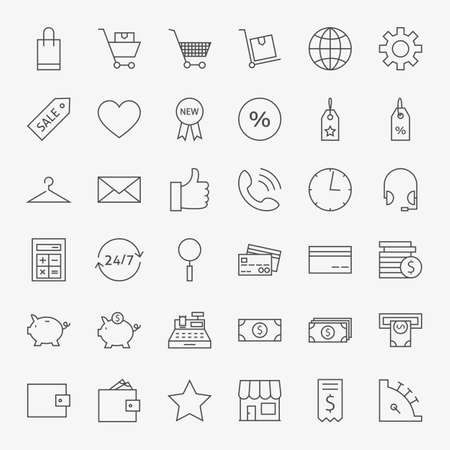 quality icon: Line Online Shopping and Commerce Icons Big Set. Vector Set of 36 E-commerce and Marketing Modern Thin Line Icons for Web and Mobile Illustration