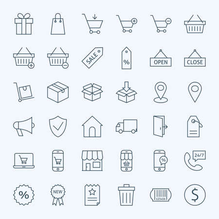 sales promotion: Line Shopping and E-commerce Icons Set. Vector Set of 36 Online Shopping Modern Line Icons for Web and Mobile
