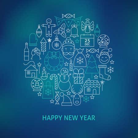 schneeflocke: Thin Line Frohes Neues Jahr-Ikonen eingestellt Kreis geformt Konzept. Vektor-Illustration von Winter Holiday Objekte �ber blauen Hintergrund jedoch unscharf.