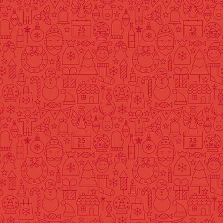 Thin Line Holiday Christmas Red Seamless Pattern. Vector Winter Party Design Background in Modern Line Style. Thin Outline Art. Happy New Year Vettoriali