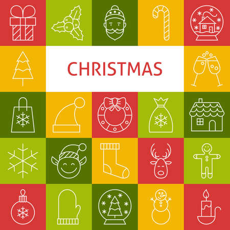 Vector Line Art Merry Christmas Holiday Icons Set. Vector Collection of 25 Winter Party Modern Line Icons for Web and Mobile. Happy New Year Vettoriali