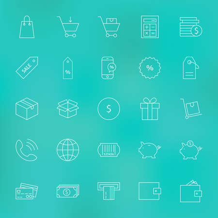 ecommerce icons: Shopping and Money Line Icons Set. Vector Set of Purchase and E-commerce Modern Thin Line Icons for Web and Mobile over Blurred Background