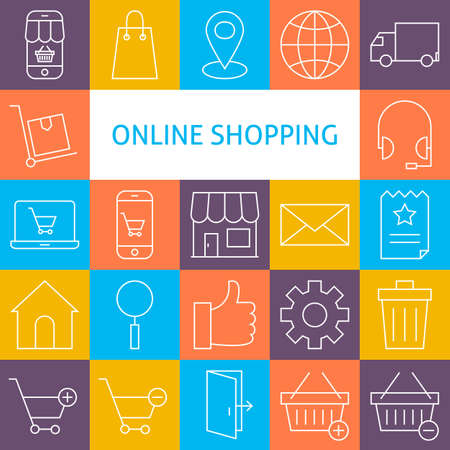 Vector Line Art Online Shopping Icons Set. Vector Collection Shopping Modern Line Icons for Web and Mobile. E-commerce and Marketplace
