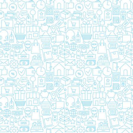 white tile: Thin Shopping Retail Line White Seamless Pattern. Vector E-commerce Online Store and Marketplace Design Background Trendy Modern Line Style. Thin Outline Art Illustration