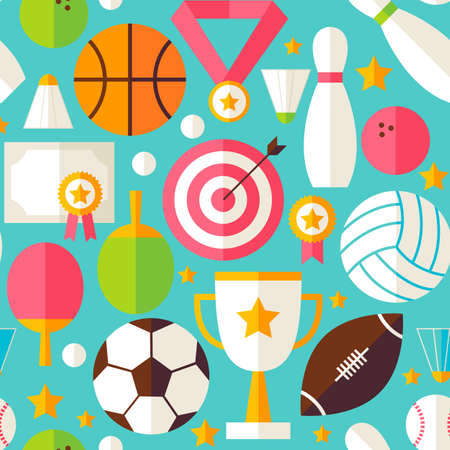 Sport Competition Blue Seamless Pattern. Sports and Activities Flat Design Vector Illustration. Background. Set of Team Games First place and Sport Items Illustration