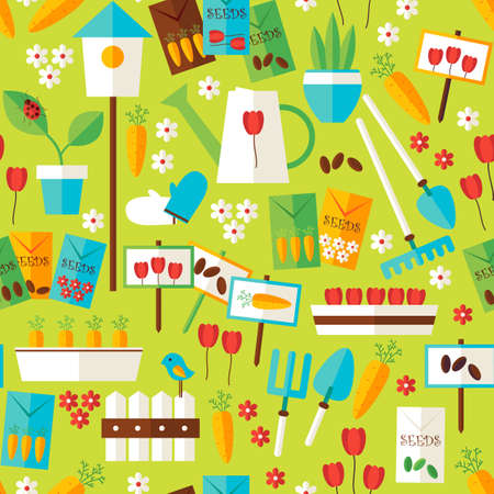 garden landscape: Flat Design Nature Gardening and Environment Green Seamless Pattern. Spring Season Garden Equipment Flat Design Vector Illustration. Background. Set of Plants and Flowers Items