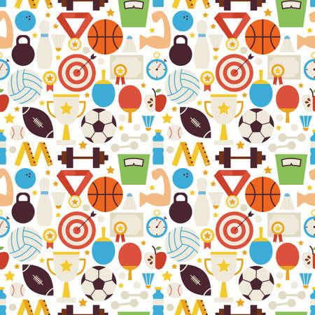 icono deportes: Patrón Deporte Competencia Gimnasio inconsútil del vector. Deportes y Actividades Ilustración plana diseño vectorial. Fondo. Conjunto de juegos de equipo del primer lugar y Artículos deportivos Vectores