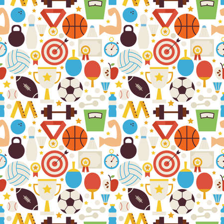 Sport Competition Fitness Vector Seamless Pattern. Sports and Activities Flat Design Vector Illustration. Background. Set of Team Games First place and Sport Items Ilustração