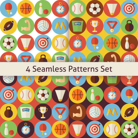 recreation: Four Sport Recreation and Competition Seamless Patterns Set with Circles. Fitness and Activities Flat Design Vector Illustration. Background. Set of Team Games First place and Sport Items