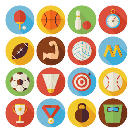 dieting: Flat Sport Recreation and Competition Circle Icons Set with long Shadow. Collection of Healthy lifestyle Fitness Dieting Objects. Sport Activities Competition and Team Sport Games Illustration
