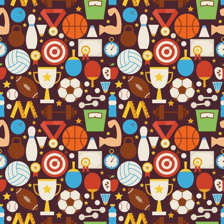 symbol sport: Sport Freizeit und Fitness Vector Seamless Pattern. Sport und Aktivitäten Wohnung Design Vector Illustration. Hintergrund. Set-Team Spiele ersten Platz und Sportartikel Illustration