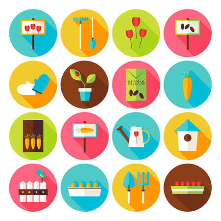 gardening  equipment: Nature Garden Environment Circle Icons Set with long Shadow. Flat Design Vector Illustration. Spring Season Gardening Equipment. Set of Plants and Flowers Items.