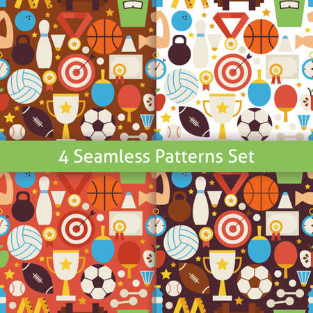 Four Vector Flat Sport Recreation and Competition Patterns Set. Sports and Activities Flat Design Vector Illustration. Background. Set of Team Games First place and Sport Items Vettoriali