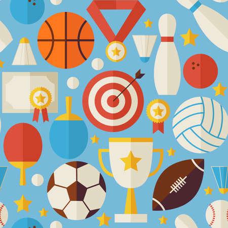 스포츠 경쟁 레크리에이션 파란색 원활한 패턴입니다. 스포츠 및 활동 평면 디자인 벡터 일러스트 레이 션. 배경. 팀 경기 1 위 및 스포츠 용품 세트