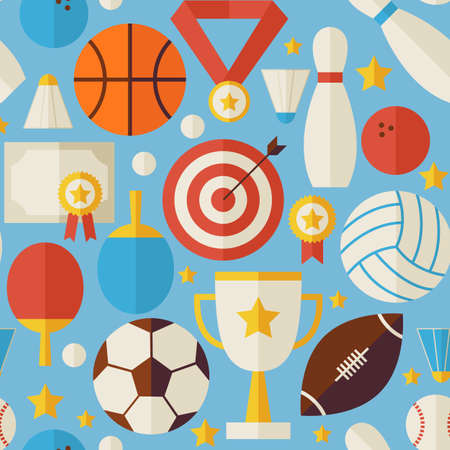 Sport Competition Recreation Blue Seamless Pattern. Sports and Activities Flat Design Vector Illustration. Background. Set of Team Games First place and Sport Items