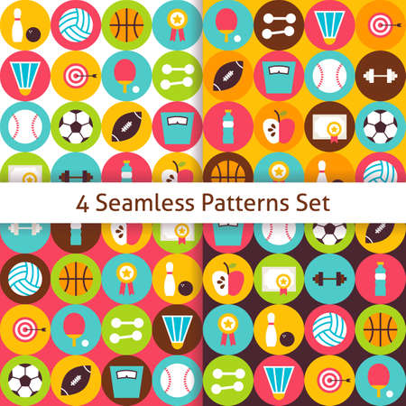 dieting: Four Sport Recreation and Fitness Seamless Patterns Set with Circles. Dieting and Activities Flat Design Vector Illustration. Background. Set of Team Games First place and Sport Items