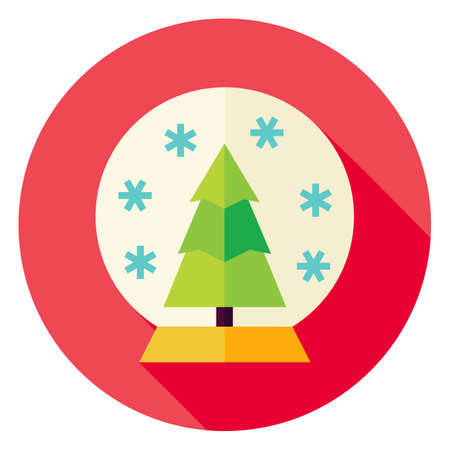 snowglobe: Decorative Snowglobe with Christmas Tree Circle Icon. Flat Design Vector Illustration with Long Shadow. Merry Christmas and Happy New Year Symbol.
