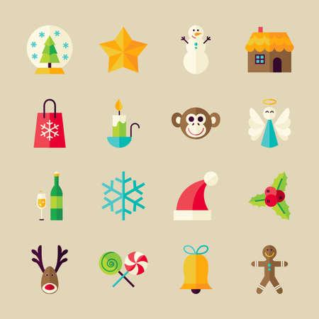 estrella: Navidad y Feliz A�o Nuevo Objetos Set. Piso estilo de ilustraci�n vectorial. Vacaciones de invierno. Colecci�n de objetos sobre fondo beige Vectores