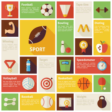 ball game: Flat Icons Infographic Sport Recreation Competition Concept. Vector Illustration. Design elements for mobile and web applications with long shadow. Healthy lifestyle Fitness Dieting. Team Sport Games