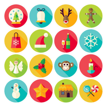 round icons: Merry Christmas Icons Set with long Shadow. Flat Design Vector Illustration. Winter Happy New Year Holiday. Collection of Circle Icons Illustration